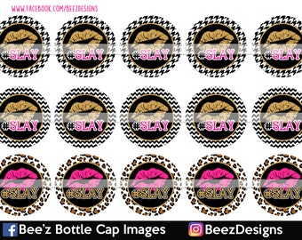 33% off SALE- INSTANT DOWNLOAD- Hashtag Slay- 1inch Bottlecap Images- 4x6 Digital Collage Sheet