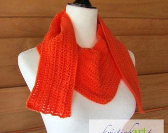 Tangerine V Shaped Closed Weave Scarf / Handmade Crochet / Women's Gift Idea / Acrylic / Nylon / Orange / Stylish