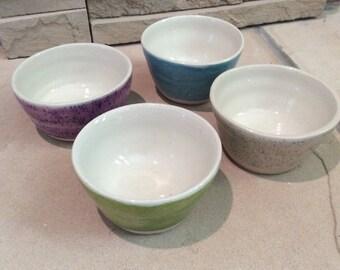 Set of 4 Small Handmade Porcelain Bowls