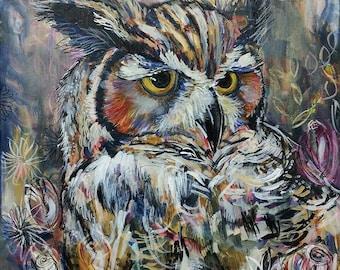 Spirit Owl - Great Horned Owl Art Print  (Shelby Willis Spirit Animal Collection)