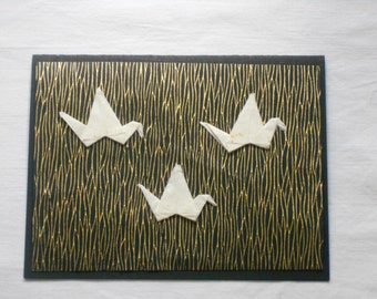Origami Cranes Card - Black and Gold Background