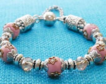Indian Sunlight Bracelet (Mauve Clay and Mauve/Pink Crystal Beads)