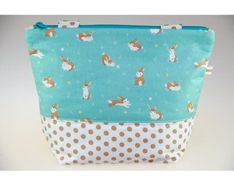Lunch bag, bag lunch turquoise drawing organic cotton bunnies zipped.