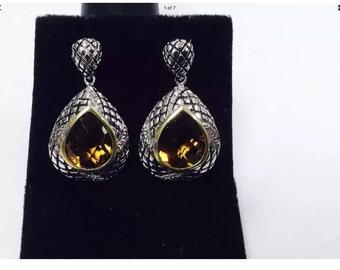 Vhiskey smokey topaz,diamonds,sterling silver,drop handcrafted earrings
