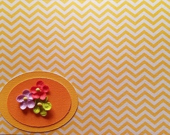 Blank yellow and white chevron greeting card