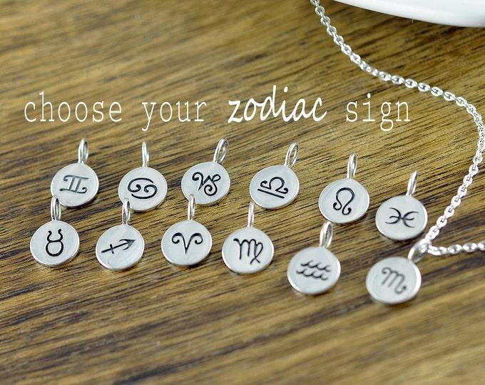 Zodiac Necklace - Horoscope Necklace - Zodiac Gift - Zodiac Charm Pendant - Zodiac Jewelry - Astrological Jewelry