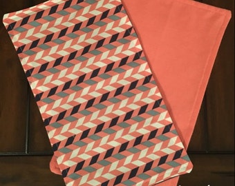 Baby Burp Cloth Coral/Navy/Grey/White Aztec Arrow Tribal With Coral Back