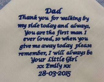 Personalised Mens Handkerchief Hankie Wedding Gift Dad Gents Family Anniversary ANY MESSAGE