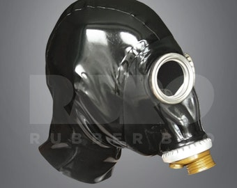 Heavy rubber gasmask with zip hood 0.8 mm