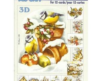 Book leaves 3D cutting, gluing, cardmaking birds winter 654