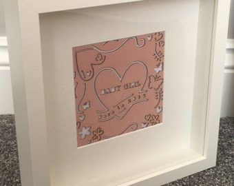 New Baby Girl box frame picture
