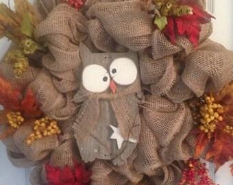 Fall Primitive Burlap Wreath, Owl Rustic Wreath, Owl Wreath,  Burlap Wreath, Rustic Wreath, Rustic Burlap Wreath, Primitive Owl Wreath,