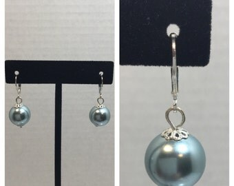 15mm Glass Pearl Earrings