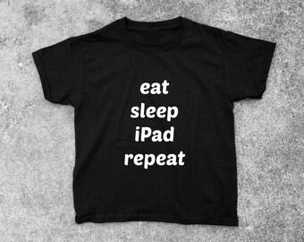 Eat, Sleep, iPad, Repeat Short Sleeve Boys Tee - FREE SHIPPING - Boys Tshirt, Toddler Tshirt, Childrens Apparel, Boys Clothing