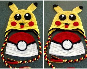 Crochet Pokemon Ball Hat/Pikachu Hat