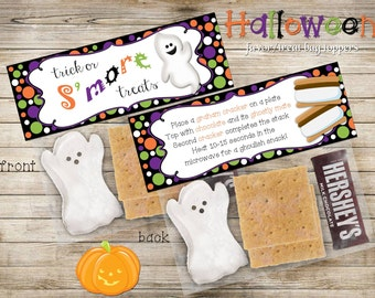 Halloween S'mores Treat Bag Toppers, DIY, Printable INSTANT DOWNLOAD
