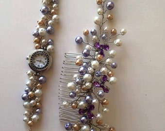 handmade pearl watch and comb
