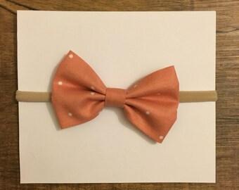 Pink & White Polka Dot Bow