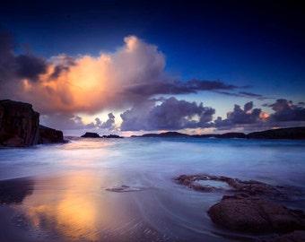 Sunrise in Donegal, Ireland, landscape photography, wall art, fine art print, sea, ocean, sky, beach, photographic print