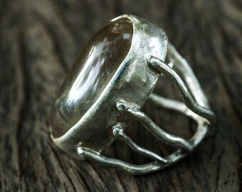 Organic silver ring with citrine.
