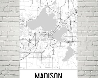 Madison WI Map, Madison Wisconsin, Madison Print, Madison Art, Madison Map, Madison Wall Art, Map of Madison WI, Gift, Decor, Modern, Art