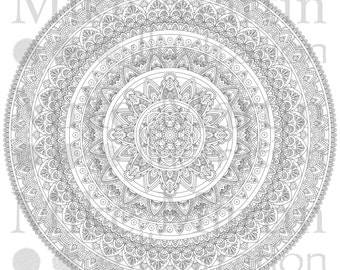 Printable Mandala instant download black and white adult coloring page
