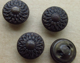 4 Vintage Victorian Metal Flower Buttons Circa 1880