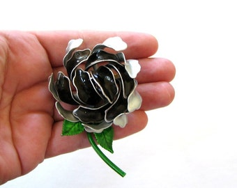 1960s enamel flower pin . black and silver gray enamel flower brooch . 3d flower brooch 60s