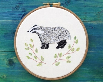 Hand Stiched Badger Embroidery Framed in an Hoop