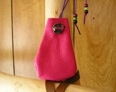 "Mandala, hot pink leather pouch with a glass charm, 34"" long beaded, adjustable cord, pouch is 3.5"" x 2.5"""