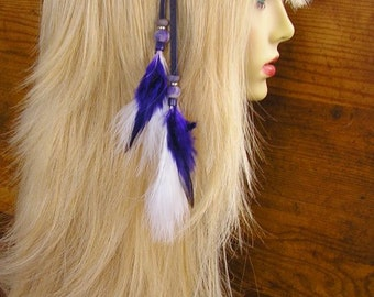 """11"""" Feather Hair Extension - Beaded Purple Leather hair clip with purple and white feathers and trade beads"""