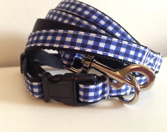 1/2 inch Blue Plaid Leash and Collar Set