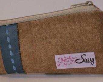Tan Linen Fabric Make up Bag, Small Size Cosmetic Bag, Travel Makeup Bag, Lined Makeup Bag