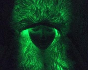 GREEN BEAR HOOD Glow Faux Fur Hat Elwire BurningMan Style Halloween Rave Bearhood AnimalHood Lightup Earcovers Partyhat ooak Ships sept 12th