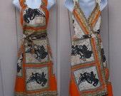 Vintage 70s Cotton Wrap Dress / Brown and Navy Blue batik Sun Dress Size Med