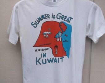Vintage 1989 / 1990 Gulf War Tee Shirt - Summer is Great Year Round In Kuwait // Men's sz Med - Lge