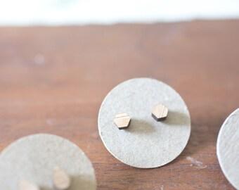 Wood Hexagon Earring | Wood Hexagon Earrings | Hexagon Earrings | Wood Earring Stud | Rustic Wedding Earrings Hypoallergenic Earring Stud