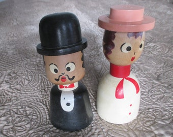 Vintage Wooden Man and Woman 1940's 1950's Japan Salt & Pepper Shakers