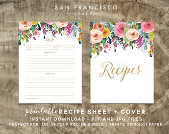 Printable Recipe Sheet and Cover | Recipe Binder Insert | US Letter |  Floral | Digital Files- Ashley - PDF and JPG - Instant Download