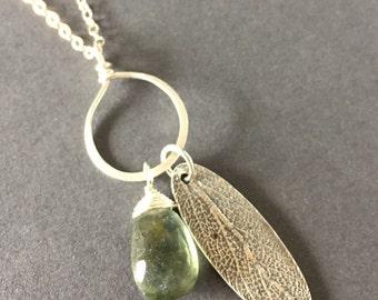 Silver Sage, Moss Aquamarine, Fine Silver, Sterling Silver Necklace, erinelizabeth