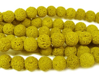 Yellow Lava Round Gemstone Beads