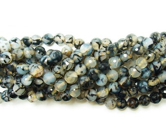 Black Web Agate Faceted Gemstone Beads