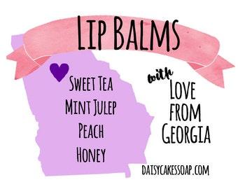 NEW Georgia Lip Balm 4-Pack: Sweet Tea, Honey, Peach & Mint Julep