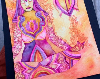 Third Eye Original Watercolor by Megan Noel
