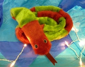 Sally the Christmas Snake - Weird Plush - Red and Green Stuffed Animal - Creepy Christmas Decoration or Plush Striped Scarf -Nearly 6ft long