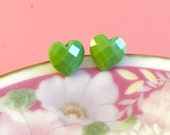 Sage Green Heart Studs, Heart Stud Earrings, Resin Jewelry, Valentine's Day Studs, St Patrick's Day Studs, Surgical Steel Studs
