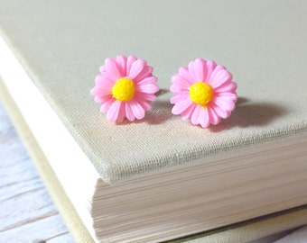 Small Pink Daisy Studs, Pink Gerber Daisy Studs, Pink Flower Earrings,  Surgical Steel Studs, Bridesmaid Gift Earrings, KreatedByKelly (LB3)