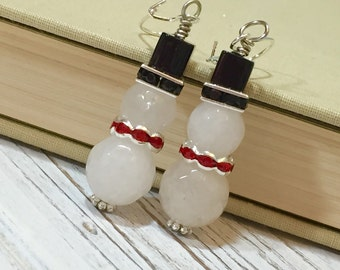 Handmade Glass Snowman Earrings with Red Rhinestone Scarf and Black Top Hat for Christmas Holiday
