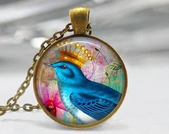 Blue Bird Pendant, Bird Art Necklace, Bird and Crown Jewelry, Bird Art Pendant, Bird Jewelry, Gift, Vintage Art Pendant, Bronze, Silver, 300
