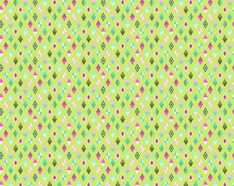 Tula Pink Slow and Steady Track Flags in Strawberry Kiwi Free Spirit cotton quilt fabric - fat quarter